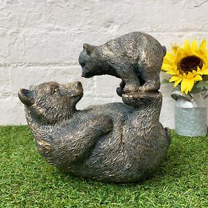 Vintage Home Garden Ornament Animal Figurine Cute Playful Mother Bear & Cub Gift