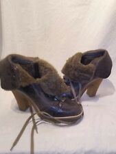Bertie sheepskin ladies brown platform boots uk 5 ref ap01