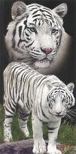 Serviette de plage Drap de bain 2 Tigres blancs strandtuch beach towel coton