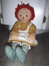 Vintage Antique Raggedy Ann Rag Doll with Rare Blue Striped Legs Blue Feet