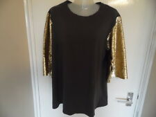 Ladies gold and brown  top with gold sequins sleeves size L