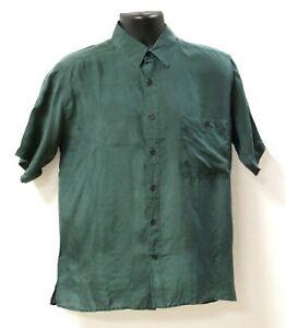 Surprise 100% Silk Unisex Forest Green Short Sleeve Shirt