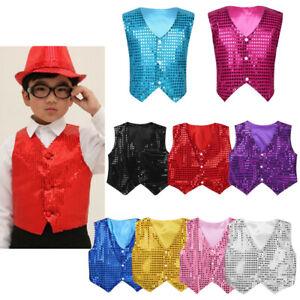 Unisex Sequins Waistcoat Vest Jazz Dance Party Show Costume for Kids Boys Girls