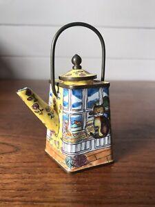 Vintage Empress Arts Enamel Hand Painted Miniature Teapot Cat USA