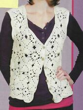 Lightly Layered Lacy Motif Vest 3 Sizes Women'S Crochet Pattern Instructions