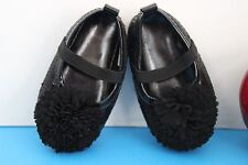 Stepping Stones Infant Baby Girl Sequined Dressy Crib Shoes~Black~Size 6-9 M~