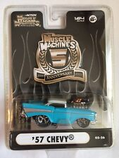 Muscle Machines 5th Anniversary '57 1957 Chevy Light Blue Die-cast 1/64 05-26