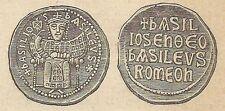 A4270 Monete bisantine di Basilio I - Incisione - Stampa Antica del 1887