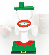 4 Pcs Christmas Santa Bathroom Toilet Seat Cover and Rug Set - Elf