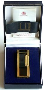 VINTAGE DUNHILL GOLD-PLATED MARBLE LACQUER ROLLAGAS CIGARETTE LIGHTER w BOX