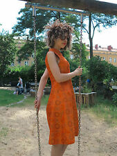 Vestido de seda a mano naranja señora Mode 60er True vintage 60s Women dress Silk