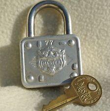 Vintage Master Lock Padlock #77 Silver Tone Rare Lion Head Embossed w/ 2 Keys!