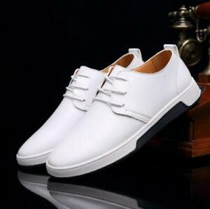 Men's Lace Up faux leather Loafers formal Dress comfy Casual Shoes