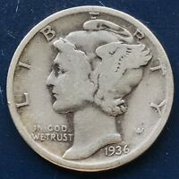 USA 1936 Mercury Dime Philadelphia 10 Cent Silber Selten Gute Erhaltung #10153