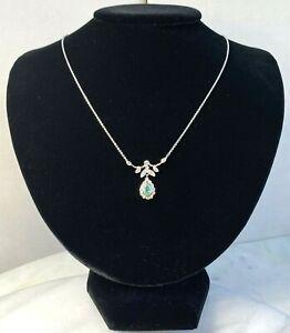Antique Emerald Old European Diamond Platinum 14K White Gold Pendant Necklace