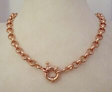 9ct Rose Gold GF Belcher Bolt Ring Solid Necklace Solid Design 9k gf