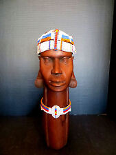 Vintage Maasai hand made beaded head piece jewelry from Kenya Africa - Rare