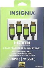 NEW HDMI CABLES VIDEO Insignia 9' 9Ft & 3' 3Ft HDMI Cables 2 pcs NS-HDM2PK