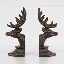 Set of 2 Cast Iron Stag Deer Head Antler Book Ends Heavy Vintage Style Bookends