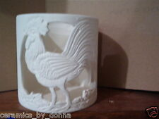 ROOSTER Candle holder Planter pencil holder Ready to paint bisque