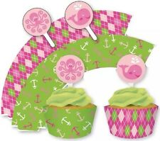 Ocean Preppy Girl Cupcake Wrappers With Toppers (12 Ct Wraps + 12 Toppers)