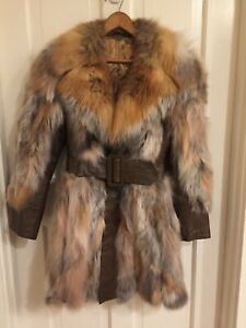 Real Red Silver Fox Fur Coat Jacket with Leather Accents. GORGEOUS Plush Collar