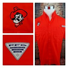 3060996588c Columbia PFG OSU Pistol Pete Mens Sz Sm Vented Orange Camp Fishing Shirt