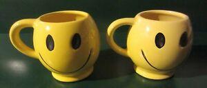 Vintage McCoy Yellow Smiley Face Mug  set of 2