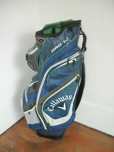 CALLAWAY ORG14 Blue/White/Green CART GOLF BAG Club Storage Pockets Course Gear