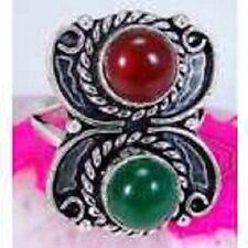 FUNKY Red & green Onyx & 925 Silver Handmade Designer Ring Size R G78-33225