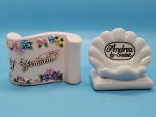 (2) Dealer Store Display Plaque Sign Porcelain Andrea by Sadek, Y. Yamada Lefton