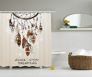 Dreamcatcher Never Stop Dreaming Feathers Beige Shower Curtain Extra Long 84Inch