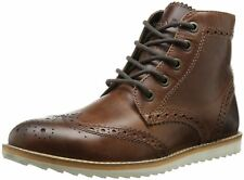 New Crevo Mens Boardwalk Wing Tip Boot, Brown Leather, 9.5 M US