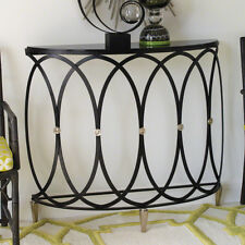 """42"""" Long Demi Console Table Hand Wrought Iron Polished Nickel Black Granite Top"""