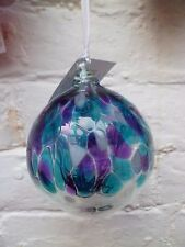 Milford Collection Hanging Glass Globe Violet Purple Blue Tree of Life Home Gift