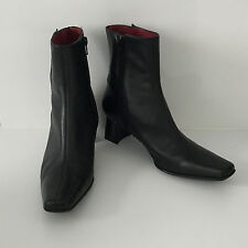 'MICAM' (JOANNE MERCER) EC SIZE '6.5' BLACK LEATHER BOOTS  WITH BUTTON DETAIL