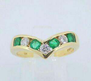 Beautiful 18K 18ct Gold Emerald & 0.18ct Diamond Wishbone Engagement Ring UK K
