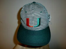 UNIVERSITY MIAMI HURRICANE HAT Embroidered Houndstooth Check VTG NOS NWT