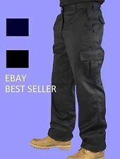 Mens Navy or Black CARGO WORK TROUSERS - Quality and lowest price on Ebay!