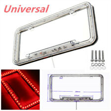54 Red LED Lighting Acrylic Plastic Car License Plate Cover Frame Universal Cool