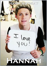 Niall Horan One Direction Birthday Card A5 Personalised with own words