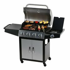 Outdoor BBQ Gas Grill 5 Burner Side Stainless Steel LP Propane Backyard Cooking