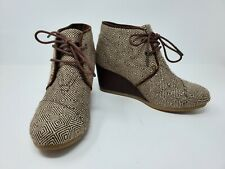 TOMS Wedge Bootie Womens Lace Up Brown Beige Geometric Size 6.5