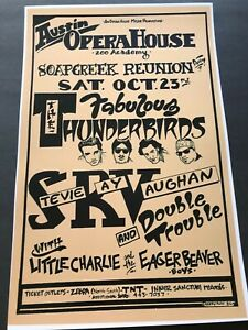 1982 STEVIE RAY VAUGHAN Fabulous Thunderbirds show poster @ Austin Opera House