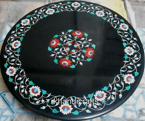 42 Inches Shiny Gemstones Inlay Art Hallway Table Top Black Marble Dining Table