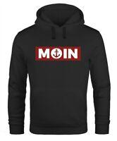 Hoodie Herren Moin norddeutsch Morgen Anker Kapuzen-Pullover Print Männer