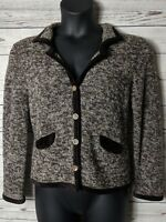J Jill Petite Small S Brown Tan Cardigan Merino Wool Sweater Soft