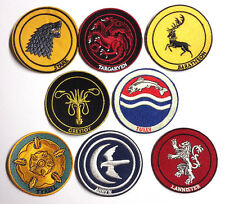 """Game of Thrones House Logo 3"""" Embroidered Patch Set of 8- FREE S&H(GTPA-Set-8)"""