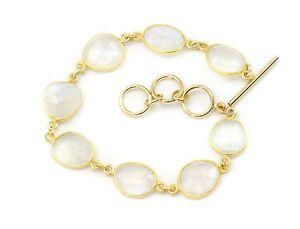 Blue Moonstone Bracelet Large Bezel Faceted 6 7 8 Inch Adjustable 14k Gold Fill