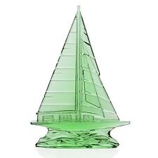 """Waterford Crystal Tall Light Green Sailboat Sculpture 9"""" New In Box # 40029117"""